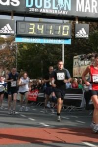 Me crossing the line at the 2004 Dublin Marathon. RPE - pretty fucking high!