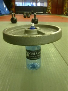 A sealed empty plastic bottle supporting a 10kg plate